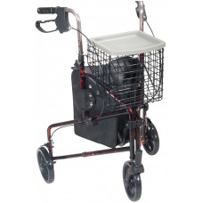 Drive Medical - 3 Wheel Rollator Walker with Basket Tray and Pouch -10289