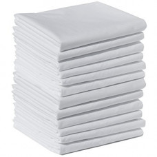 "Flannel Flat/Top Sheets 100% Cotton High-Quality Brushed White - 90""x 58'' 10 /PACK"