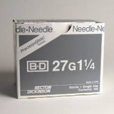 "BD 305136 PrecisionGlide Needle, 27G x 1 1/4"", Regular Bevel, Sterile, 400/BOX"