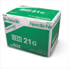 BD 305165  B-D Needle 21g x 1, 400/pk  PrecisionGlide Needles Regular Bevel