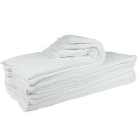 White Full Terry Towel 100 % Cotton  - 24x50 - 10 LB- 10 PACK PER ORDER