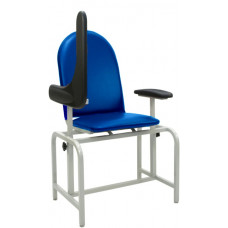BLOOD DRAWING CHAIR WITH FLIP UP ADJUSTABLE HEIGHT URETHANE ARM PADDED SEAT/BACK STEEL GRAY