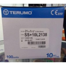 TERUMO SYRINGE WITH NEEDLE 10mL - LT 21G X 1-1/2 INCH-10L2138 -100/BOX