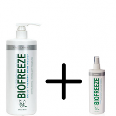 32 oz Professional Biofreeze Pump Bottle With a Free 4oz Biofreeze Spray Bottle