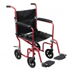 Deluxe Fly-Weight Aluminum Transport Chair with Removable Casters RTLFW19RW-RD