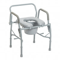 Deluxe Steel Drop-Arm Commode With Padded Seat #11125PSKD-1