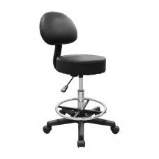 Deluxe Hydraulic Adjustable Swivel Rolling Stool w/ Backrest Black