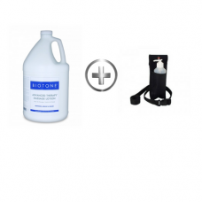 BIOTONE Advanced Therapy Massage Lotion 1 Gal and Free Bottle Holster + 8 oz Bottle