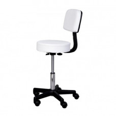 Salon Swivel Stool with Backrest - White