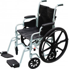 Poly Fly Light Weight Transport Chair Wheelchair with Swing away Footrest