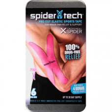 SpiderTech Pink Universal X Spider Pre-Cut Elastic Sports Tape, 6 count