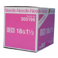 "BD 305196 PrecisionGlide Needle, 18G x 1 1/2"", Regular Bevel, Sterile, 400/BX"