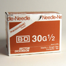 "BD 305106 PrecisionGlide Needle, 30G x 1/2"", Regular Bevel Pack of -200 Needle"