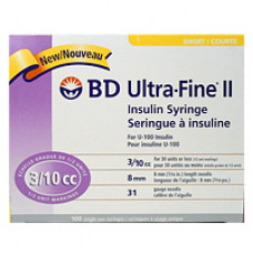 -BD320440 UltraFine II Insulin Syringe, 3/10CC, 8mm, 31G 100/BOX