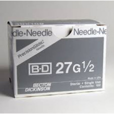 "BD 305109 PrecisionGlide Needle, 27G x 1/2"", Regular Bevel, Sterile, 400/Box"