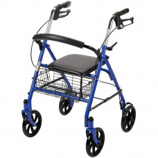Drive Medical 10257BL 4-Wheel Walker Rollator with Fold Up Removable Back Support