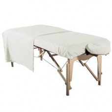 Flannel 3pc Massage Table Sheet Set-White 1 Fitted-1 Flat -1 Face Cover