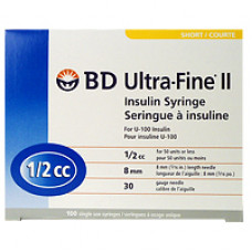 -BD320468 UltraFine II Insulin Syringe 1/2CC,8mm,30G 100/BOX