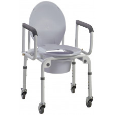 Commode Steel Drop-Arm Wheels and Padded Armrests