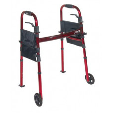 "Portable Folding Travel Walker with 5"" Wheels and Fold up Legs-RTL10263KDR"
